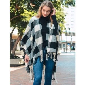 Accessories - Black Ivory Buffalo Check Plaid Tassel Shawl